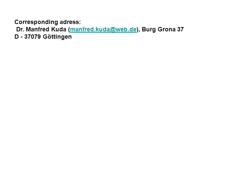 Corresponding adress: Dr. Manfred Kuda (manfred.kuda@web.de), Burg Grona 37manfred.kuda@web.de D - 37079 Göttingen