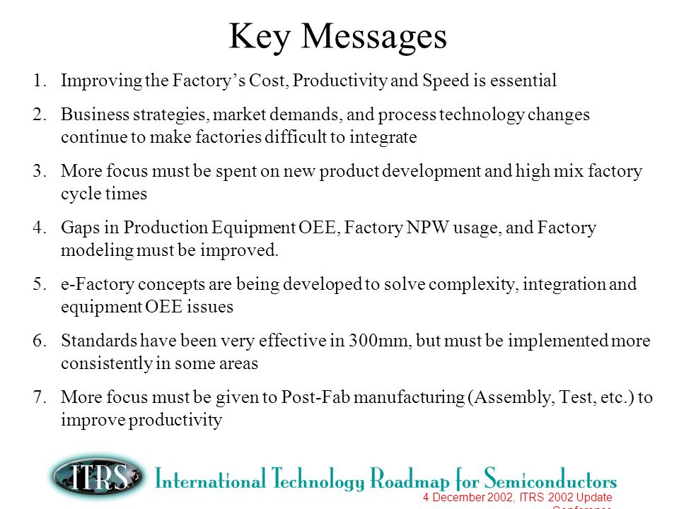 4 December 2002, ITRS 2002 Update Conference Key Messages 1.Improving the Factorys Cost, Productivity and Speed is essential 2.Business strategies, ma