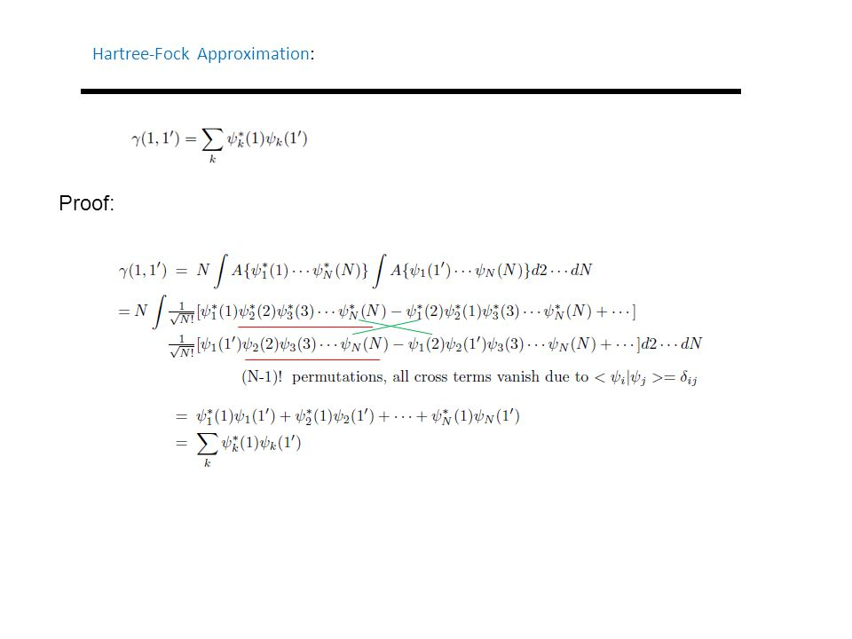 Hartree-Fock Approximation: Proof: