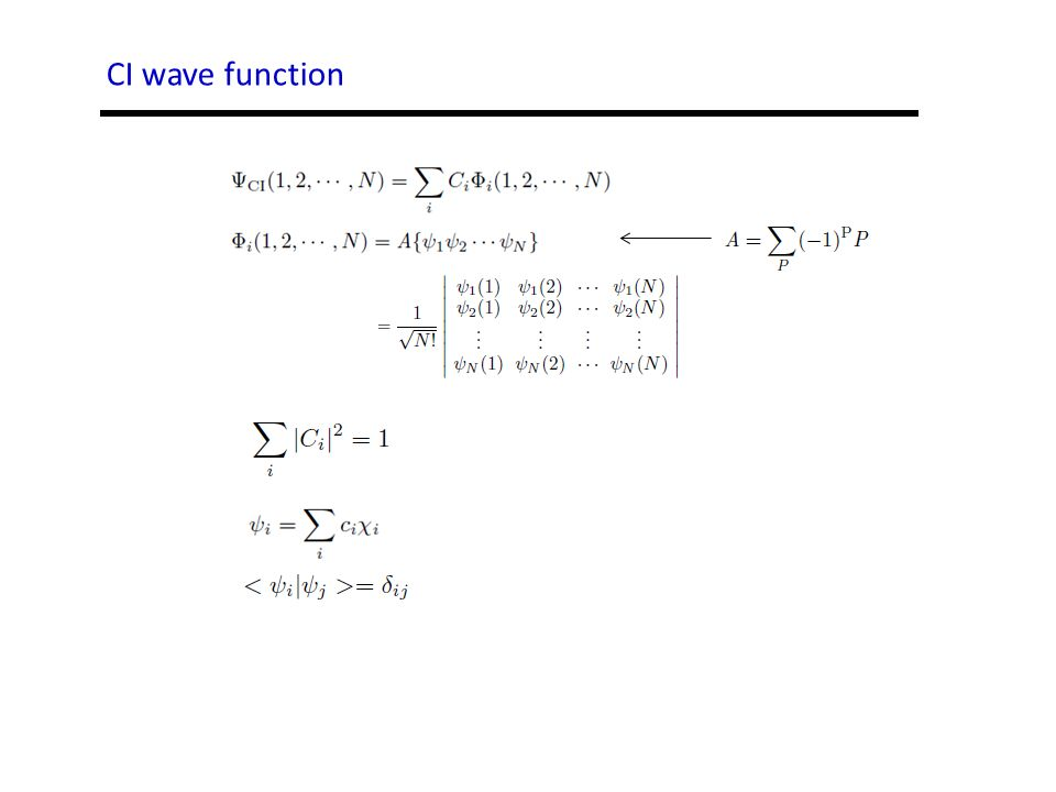 CI wave function