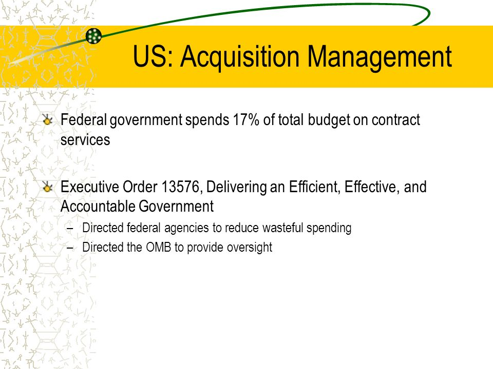 US: Acquisition Management Federal government spends 17% of total budget on contract services Executive Order 13576, Delivering an Efficient, Effectiv