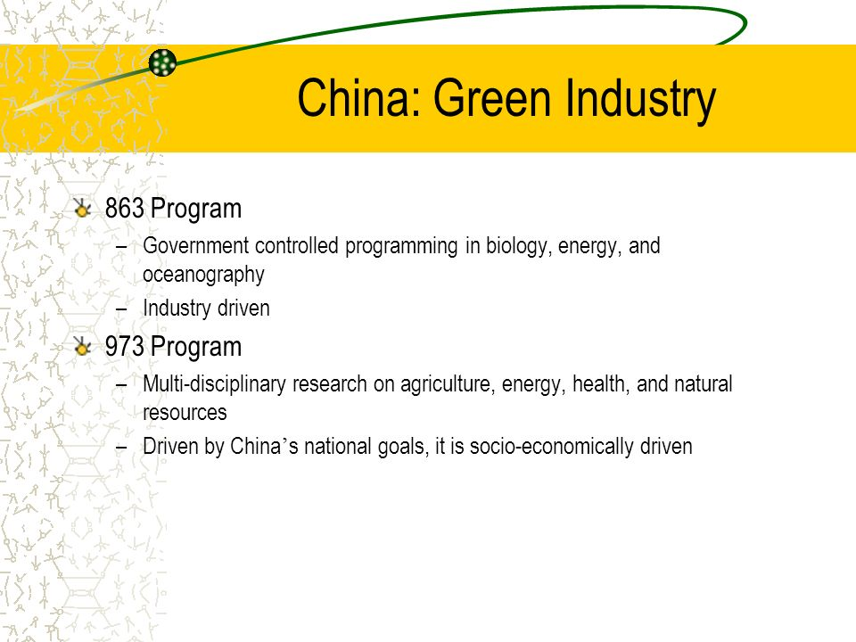 China: Green Industry 863 Program –Government controlled programming in biology, energy, and oceanography –Industry driven 973 Program –Multi-discipli