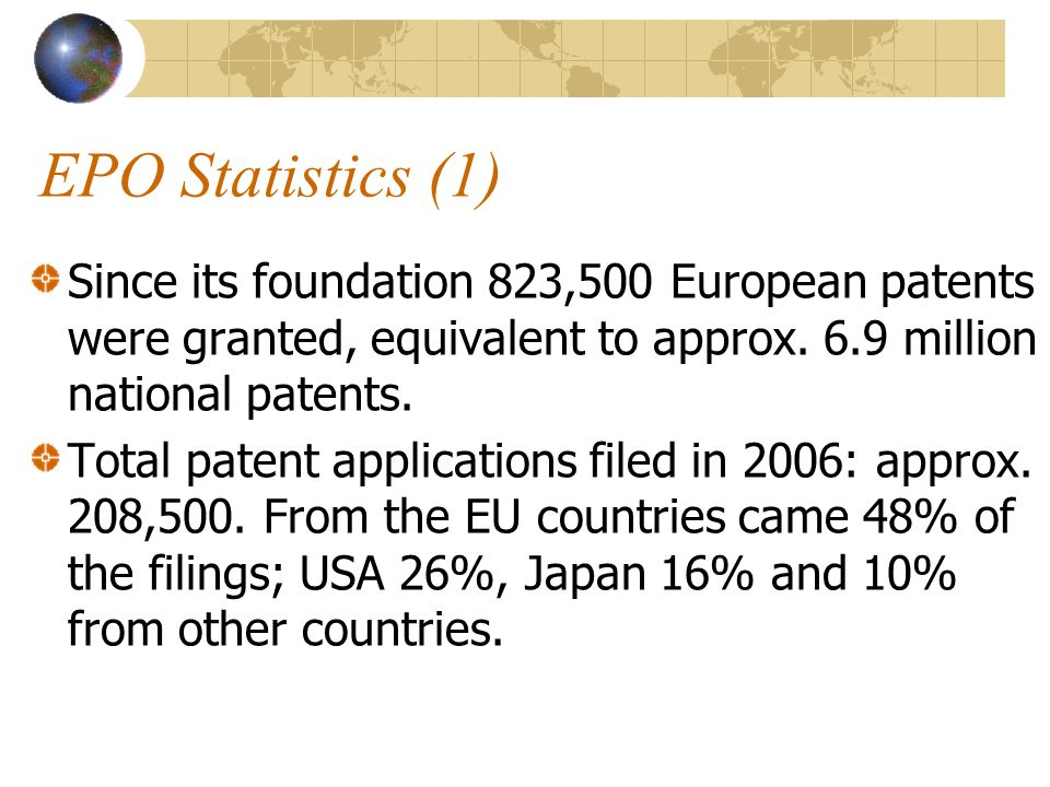 EPO Statistics (1) Since its foundation 823,500 European patents were granted, equivalent to approx.