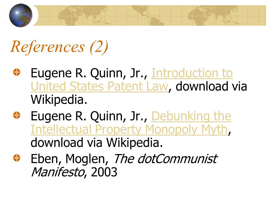 References (2) Eugene R.