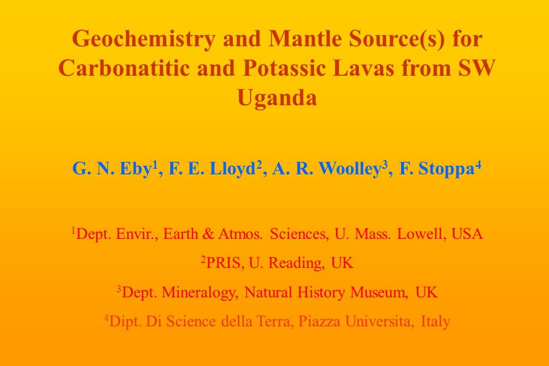 Geochemistry and Mantle Source(s) for Carbonatitic and Potassic Lavas from SW Uganda G.