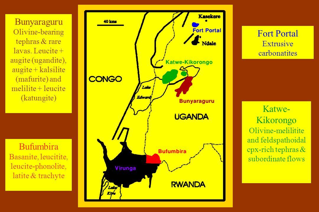 Fort Portal Extrusive carbonatites Katwe- Kikorongo Olivine-melilitite and feldspathoidal cpx-rich tephras & subordinate flows Bunyaraguru Olivine-bea