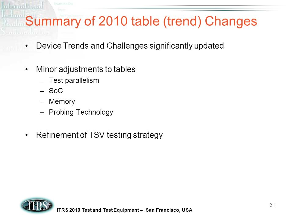 ITRS 2010 Test and Test Equipment – San Francisco, USA 21 Summary of 2010 table (trend) Changes Device Trends and Challenges significantly updated Minor adjustments to tables –Test parallelism –SoC –Memory –Probing Technology Refinement of TSV testing strategy