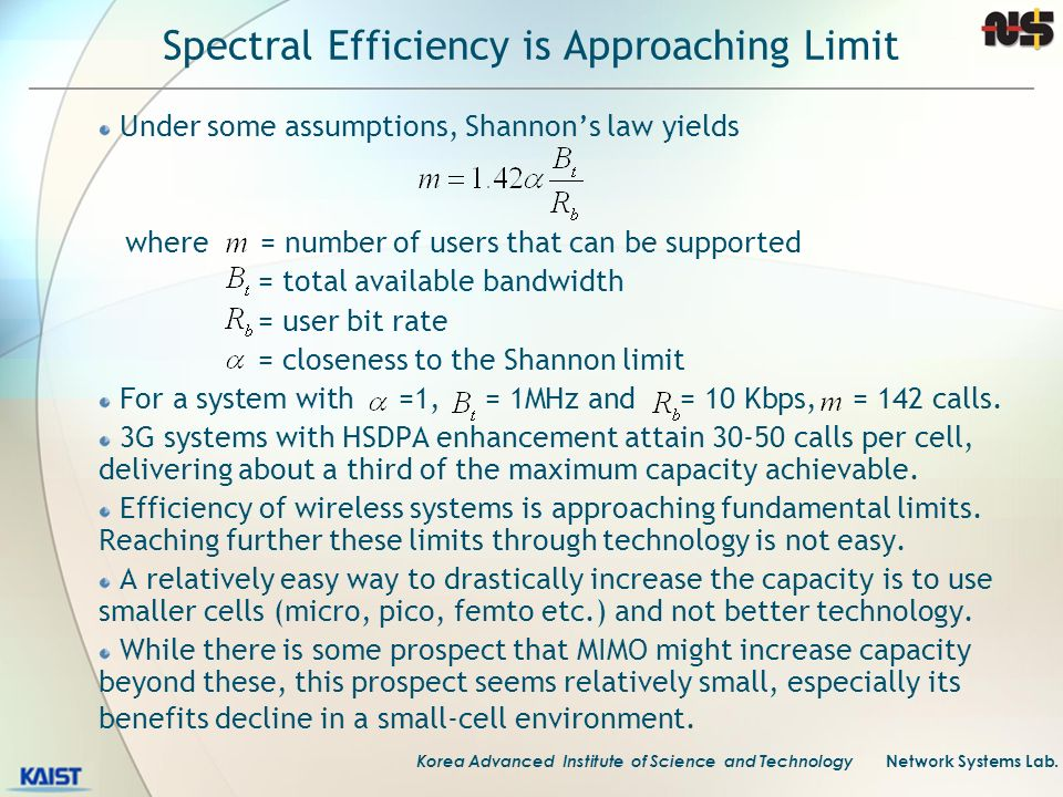 Korea Advanced Institute of Science and Technology Network Systems Lab. Spectral Efficiency is Approaching Limit Under some assumptions, Shannons law