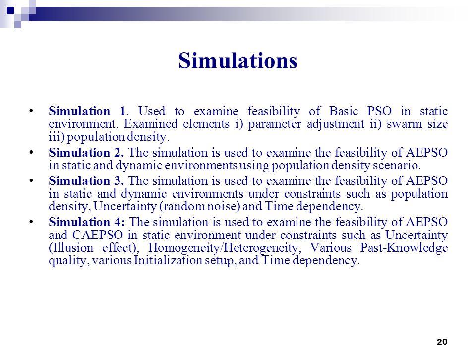 20 Simulations Simulation 1. Used to examine feasibility of Basic PSO in static environment. Examined elements i) parameter adjustment ii) swarm size