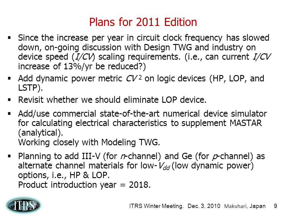 ITRS Winter Meeting. Dec. 3, 2010 Makuhari, Japan 9 Plans for 2011 Edition Since the increase per year in circuit clock frequency has slowed down, on-