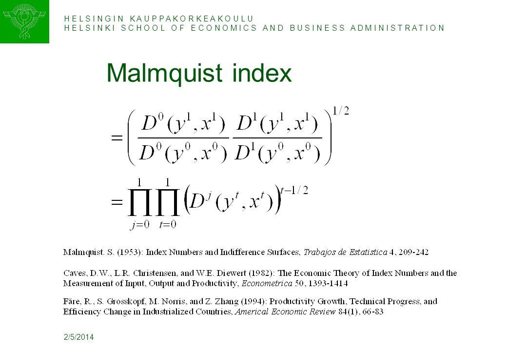 H E L S I N G I N K A U P P A K O R K E A K O U L U H E L S I N K I S C H O O L O F E C O N O M I C S A N D B U S I N E S S A D M I N I S T R A T I O N 2/5/2014 Malmquist index