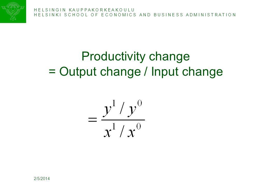 H E L S I N G I N K A U P P A K O R K E A K O U L U H E L S I N K I S C H O O L O F E C O N O M I C S A N D B U S I N E S S A D M I N I S T R A T I O N 2/5/2014 Productivity change = Output change / Input change