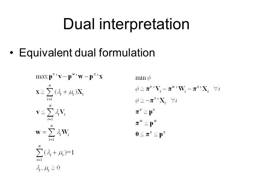 Dual interpretation Equivalent dual formulation