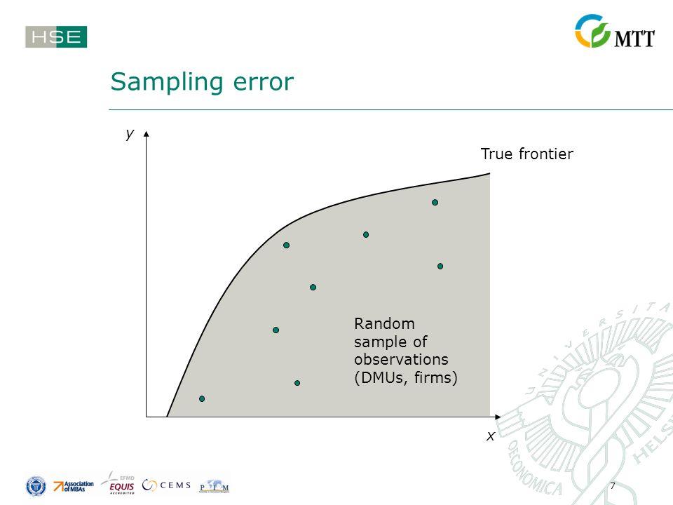 7 Sampling error True frontier Random sample of observations (DMUs, firms) y x