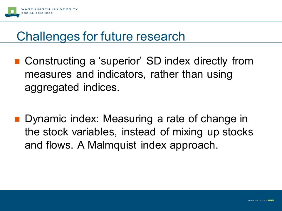 Challenges for future research Constructing a superior SD index directly from measures and indicators, rather than using aggregated indices. Dynamic i