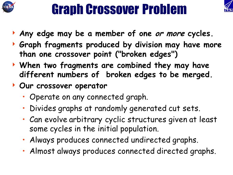 Graph Crossover Problem Any edge may be a member of one or more cycles. Graph fragments produced by division may have more than one crossover point (