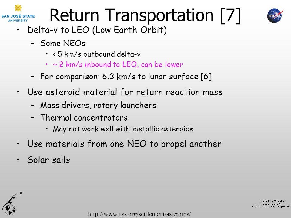 http://www.nss.org/settlement/asteroids/ Return Transportation [7] Delta-v to LEO (Low Earth Orbit) –Some NEOs < 5 km/s outbound delta-v ~ 2 km/s inbo