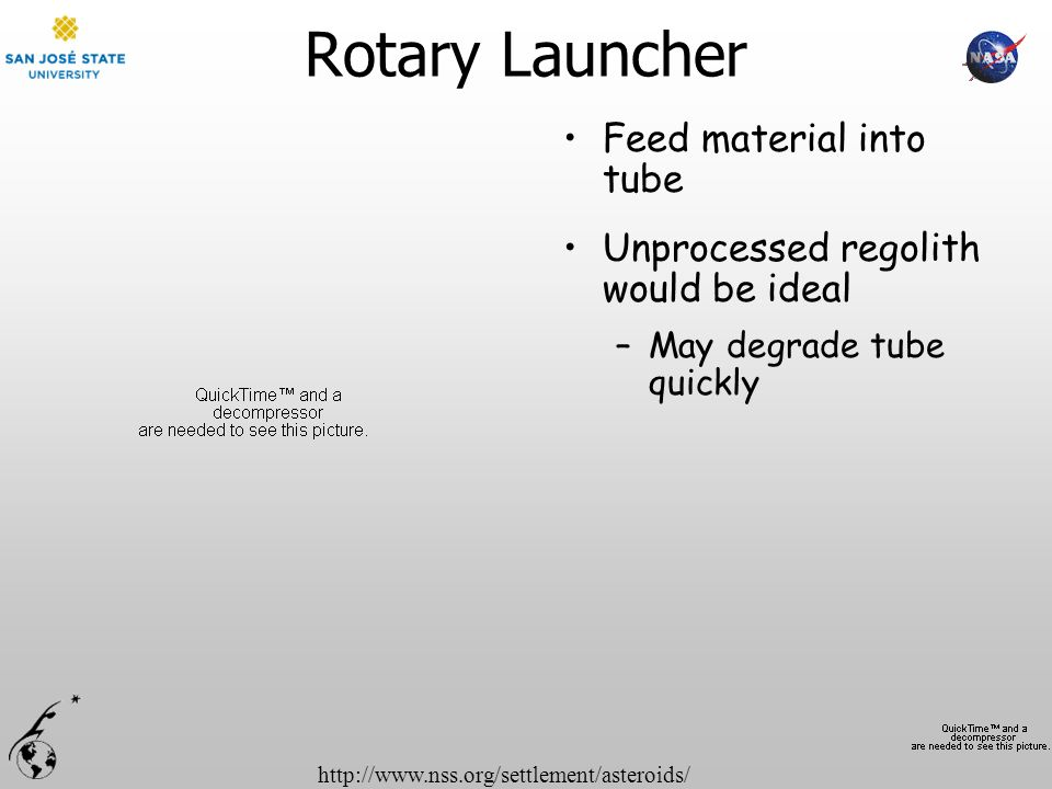 http://www.nss.org/settlement/asteroids/ Rotary Launcher Feed material into tube Unprocessed regolith would be ideal –May degrade tube quickly