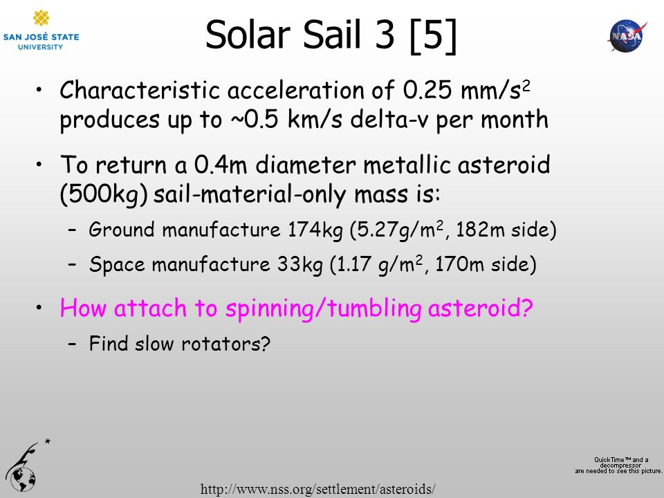 http://www.nss.org/settlement/asteroids/ Solar Sail 3 [5] Characteristic acceleration of 0.25 mm/s 2 produces up to ~0.5 km/s delta-v per month To ret