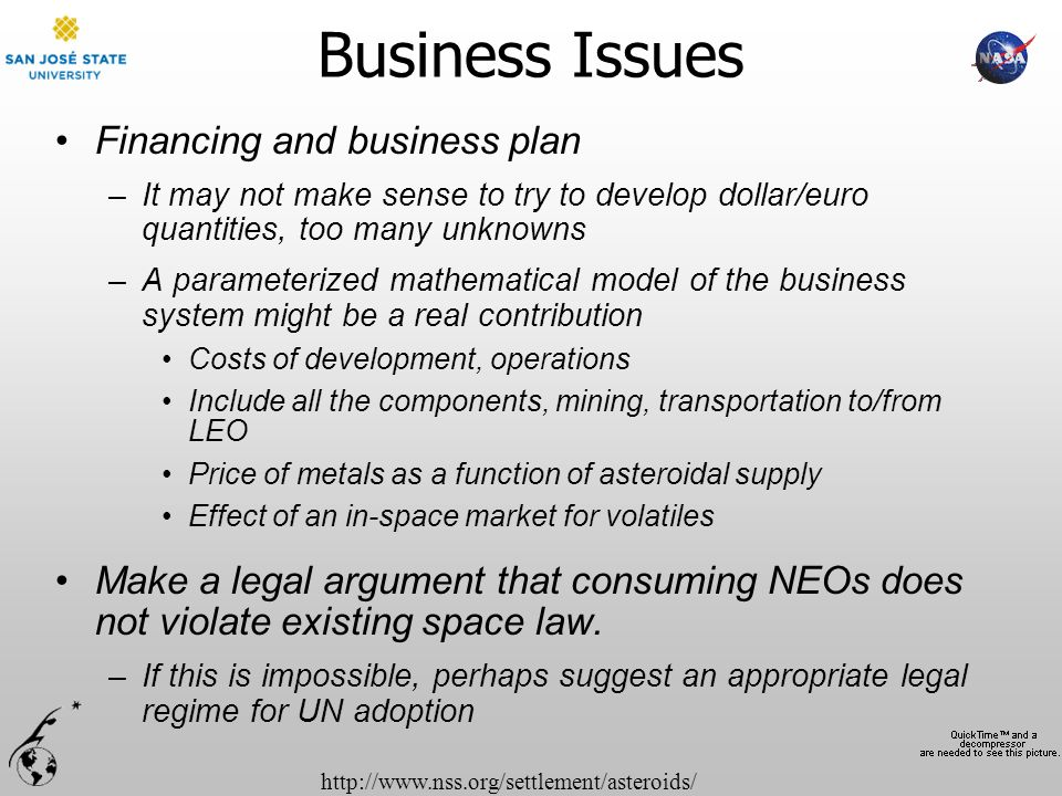 http://www.nss.org/settlement/asteroids/ Business Issues Financing and business plan –It may not make sense to try to develop dollar/euro quantities,