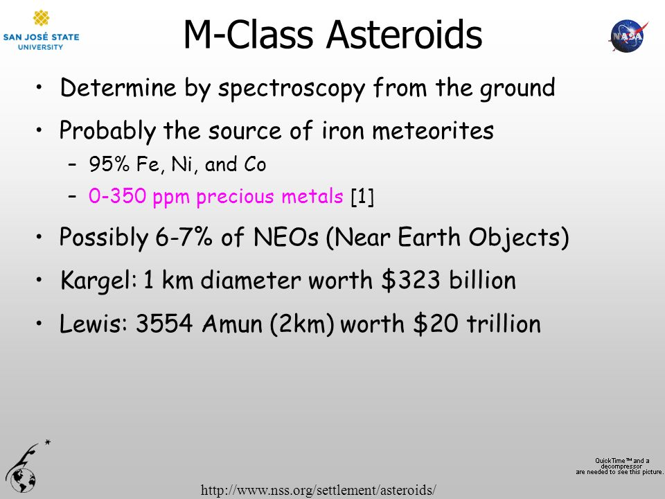 http://www.nss.org/settlement/asteroids/ M-Class Asteroids Determine by spectroscopy from the ground Probably the source of iron meteorites –95% Fe, N