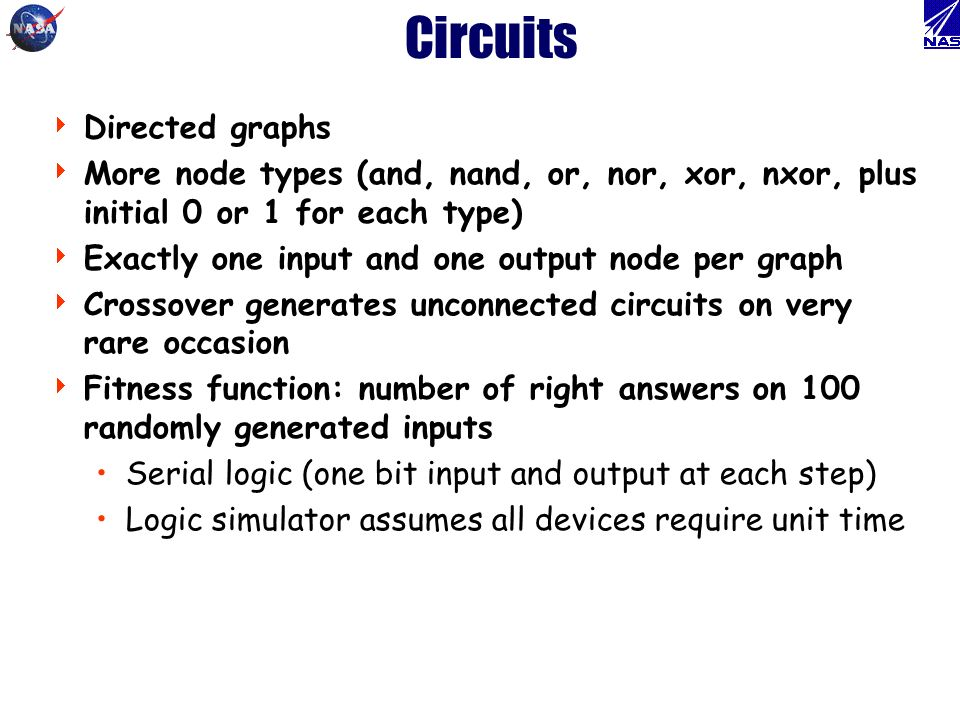 Circuits Directed graphs More node types (and, nand, or, nor, xor, nxor, plus initial 0 or 1 for each type) Exactly one input and one output node per graph Crossover generates unconnected circuits on very rare occasion Fitness function: number of right answers on 100 randomly generated inputs Serial logic (one bit input and output at each step) Logic simulator assumes all devices require unit time