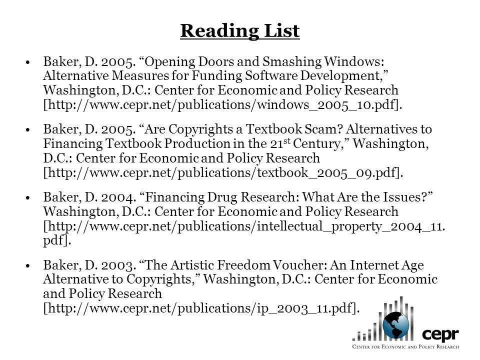 Reading List Baker, D. 2005.