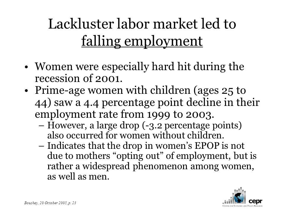 Boushey, 20 October 2005, p. 24 Figure 7. Changes in employment level, men