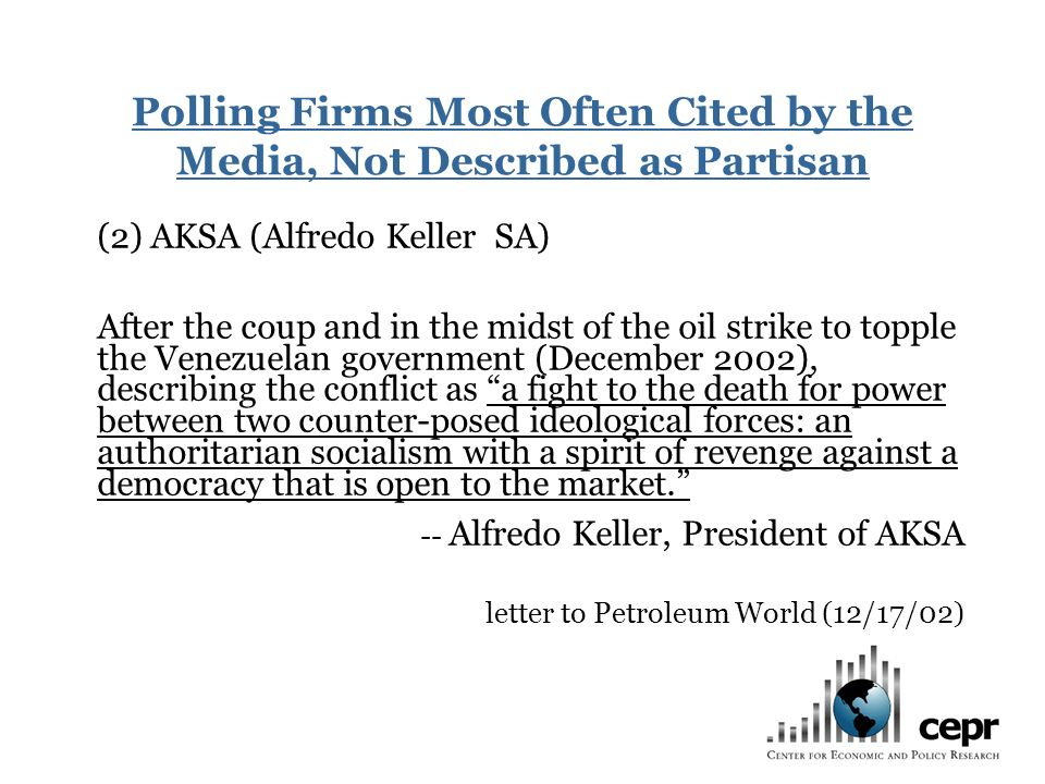 (2) AKSA (Alfredo Keller SA) After the coup and in the midst of the oil strike to topple the Venezuelan government (December 2002), describing the con