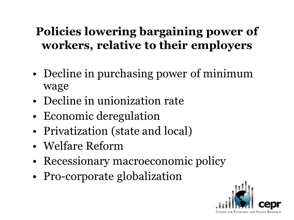 Policies lowering bargaining power of workers, relative to their employers Decline in purchasing power of minimum wage Decline in unionization rate Ec
