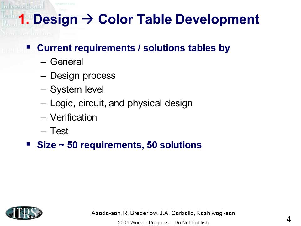 Asada-san, R. Brederlow, J.A. Carballo, Kashiwagi-san 2004 Work in Progress – Do Not Publish 4 1. Design Color Table Development Current requirements