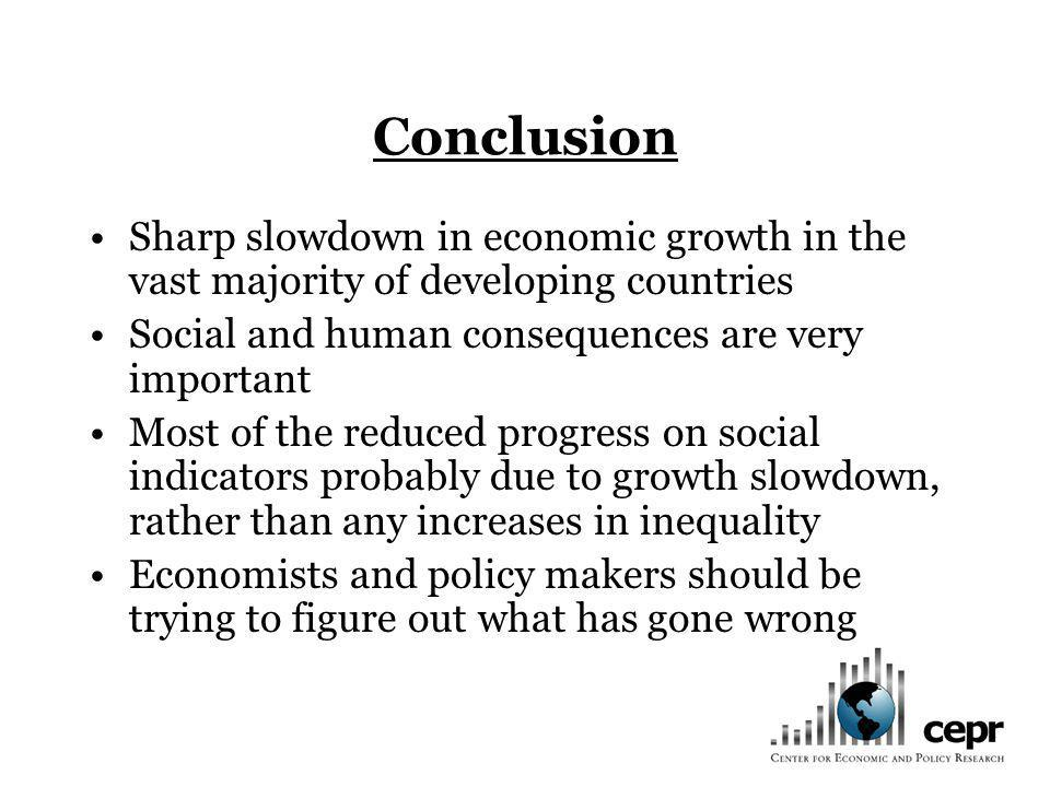 Conclusion Sharp slowdown in economic growth in the vast majority of developing countries Social and human consequences are very important Most of the