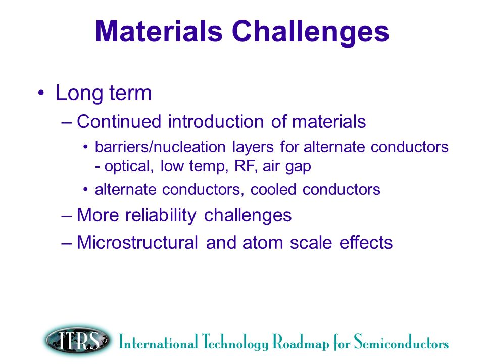 Work in Progress --- Not for Publication Changes More on ARCs, BARCs, DARCs etc Adding physical metrics on mechanical properties of porous materials from models so that text can support issues of using these weak materials Options such as composites, fiber reinforcement included in text Possible high k Tech Requirement k metric Dielectric Potential Solutions