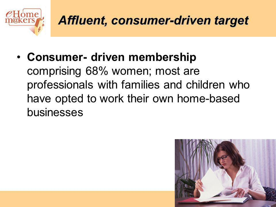 Affluent, consumer-driven target Consumer- driven membership comprising 68% women; most are professionals with families and children who have opted to work their own home-based businesses