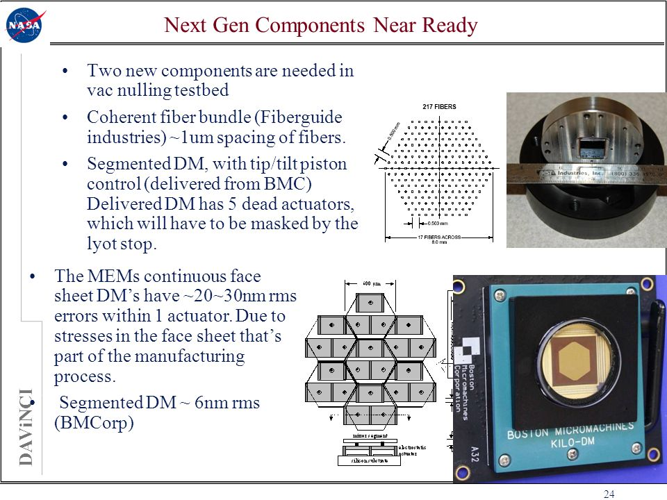 DAViNCI 24 Next Gen Components Near Ready Two new components are needed in vac nulling testbed Coherent fiber bundle (Fiberguide industries) ~1um spacing of fibers.