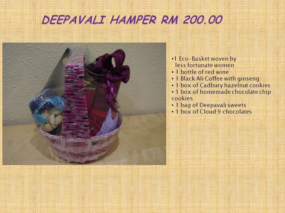 1 Eco-Basket woven by less fortunate women 1 bottle of red wine 1 Black Ali Coffee with ginseng 1 box of Cadbury hazelnut cookies 1 box of homemade chocolate chip cookies 1 bag of Deepavali sweets 1 box of Cloud 9 chocolates