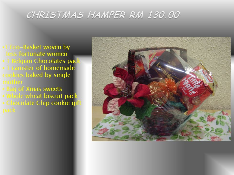 1 Eco-Basket woven by less fortunate women 1 Belgian Chocolates pack 1 canister of homemade cookies baked by single mother Bag of Xmas sweets Whole wheat biscuit pack Chocolate Chip cookie gift pack