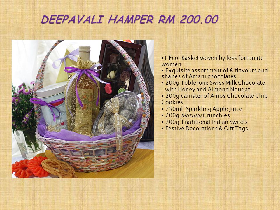 1 Eco-Basket woven by less fortunate women 350g canister of Amos Chocolate Chip Cookies Exquisite assortment of 8 flavours and shapes of Amani chocolates 473ml Natural Sola Peach Iced Tea Festive decoration & gift tags.
