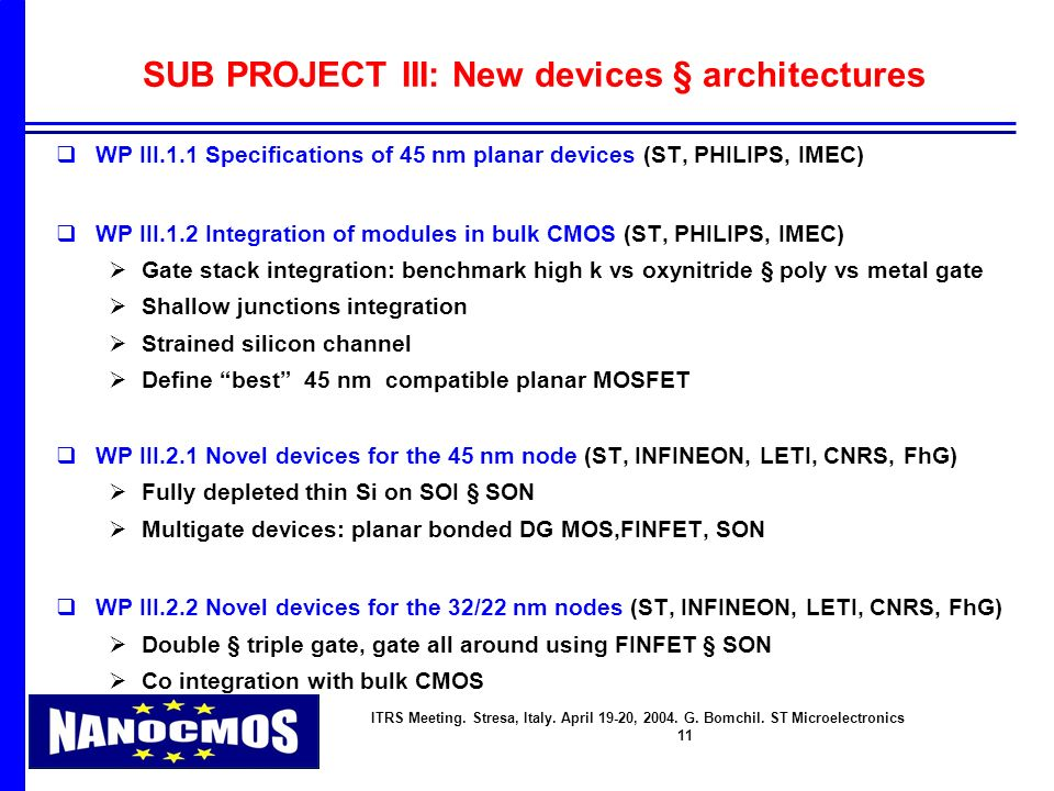 ITRS Meeting. Stresa, Italy. April 19-20, 2004. G. Bomchil. ST Microelectronics 11 SUB PROJECT III: New devices § architectures WP III.1.1 Specificati