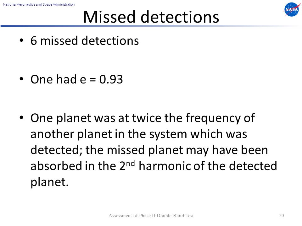 National Aeronautics and Space Administration Missed detections 6 missed detections One had e = 0.93 One planet was at twice the frequency of another