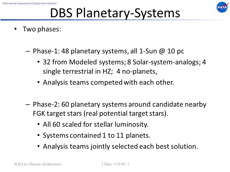 National Aeronautics and Space Administration SIM Lite Mission Architecture J Marr, 4/29/09- 5 DBS Planetary-Systems Two phases: – Phase-1: 48 planeta