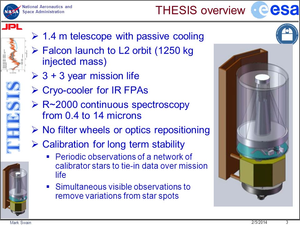 National Aeronautics and Space Administration Mark Swain Key Aspects Low technical risk Observational method proven with Hubble and Spitzer Simultaneous broad spectral coverage (0.4-14 microns all at the same time) Long term stability (near photon noise calibrated stability over the mission life) Enables a large sample of exoplanets to be characterized Highly complimentary to JWST.