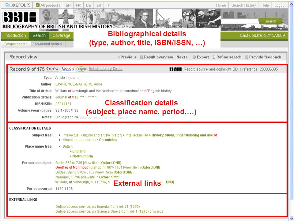 Bibliographical details (type, author, title, ISBN/ISSN, …) Classification details (subject, place name, period,…) External links