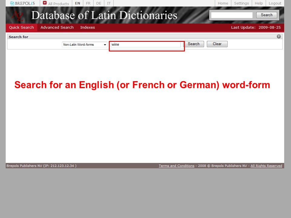 Search for an English (or French or German) word-form