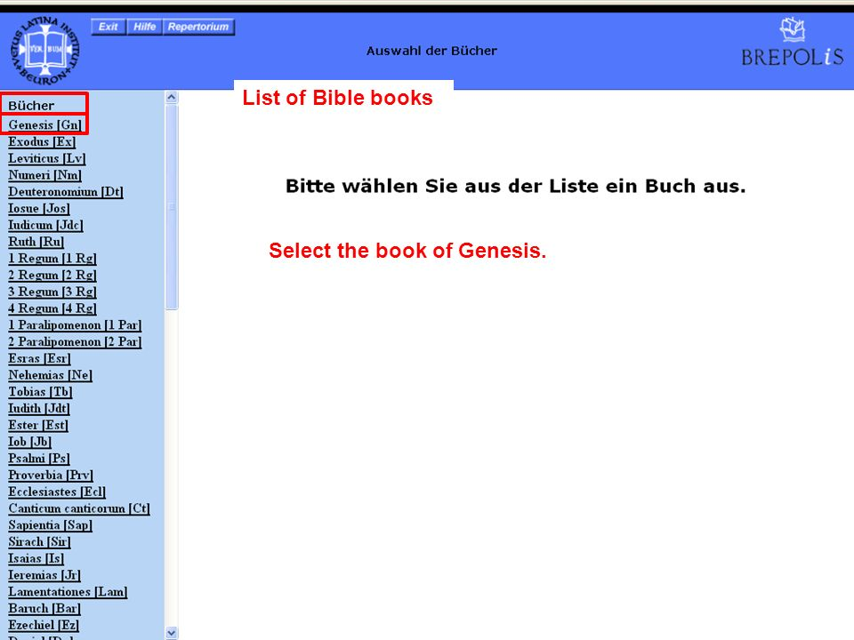 List of Bible books Select the book of Genesis.