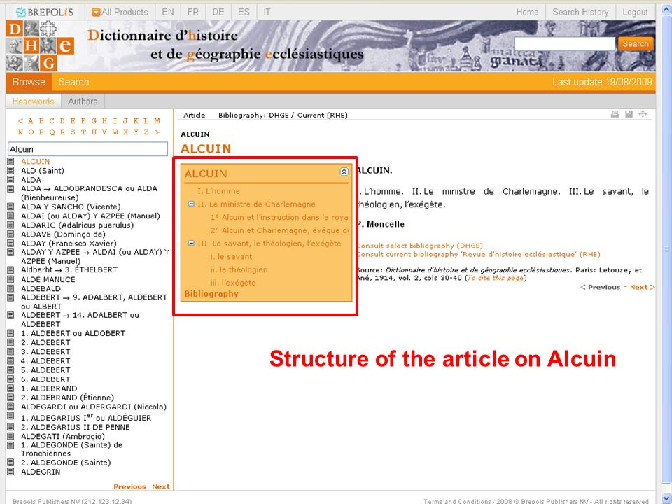 Structure of the article on Alcuin