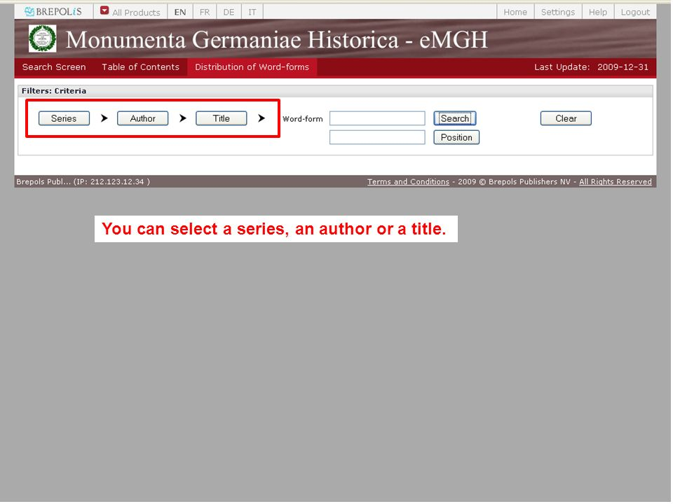 You can select a series, an author or a title.