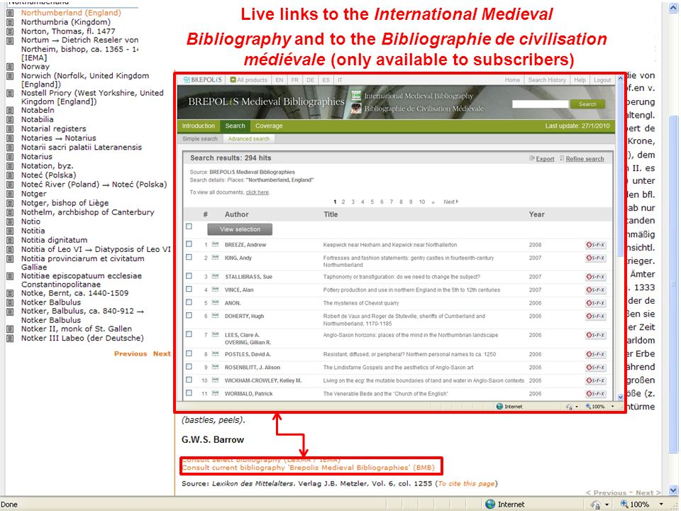 Live links to the International Medieval Bibliography and to the Bibliographie de civilisation médiévale (only available to subscribers)