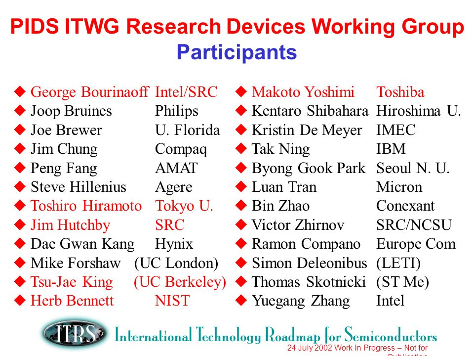 24 July 2002 Work In Progress – Not for Publication PIDS ITWG Research Devices Working Group Participants u George BourinaoffIntel/SRC u Joop BruinesPhilips u Joe BrewerU.
