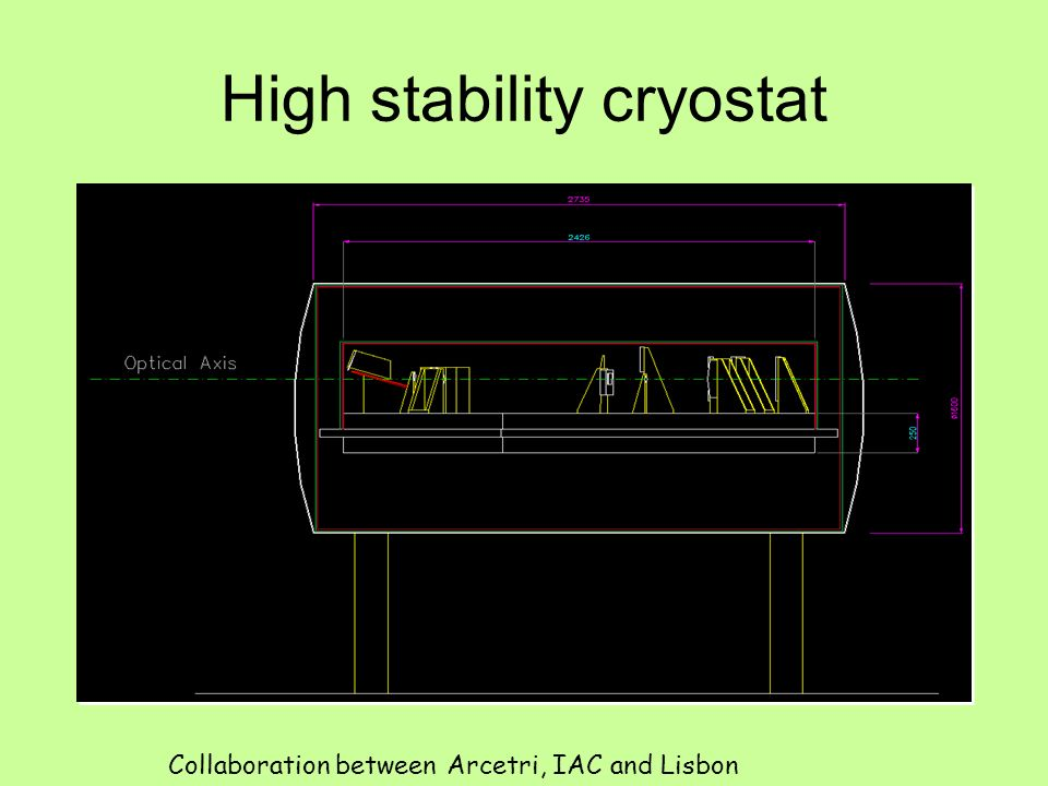High stability cryostat Collaboration between Arcetri, IAC and Lisbon